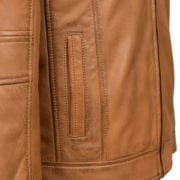 Mens Rust leather jacket pocket detail George