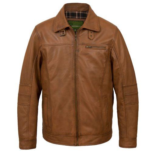 Mens rust leather jacket George