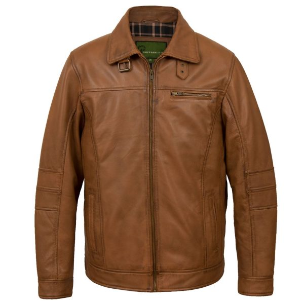 Men's rust leather jacket George