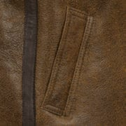 Womens Brown hooded sheepskin flying jacket pocket detail