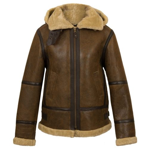 Womens Holly Brown sheepskin hooded jacket