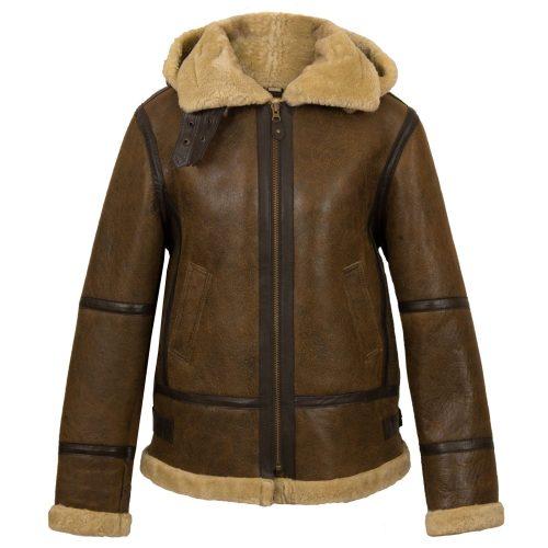 Womens Holly Brown sheepskin hooded jacket