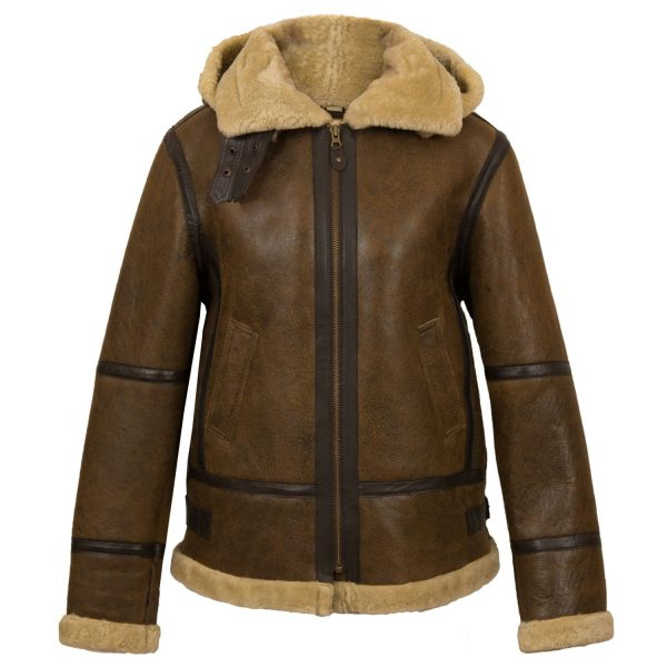 Women's Holly Brown sheepskin hooded jacket