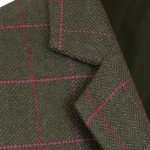 Womens green tweed jacket collar detail Lomond