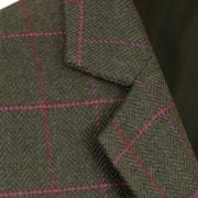 Womens green tweed jacket collar detail Lomond