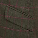 Womens green tweed jacket pocket detail Lomond