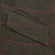 Womens green tweed jacket pocket detail Lomond