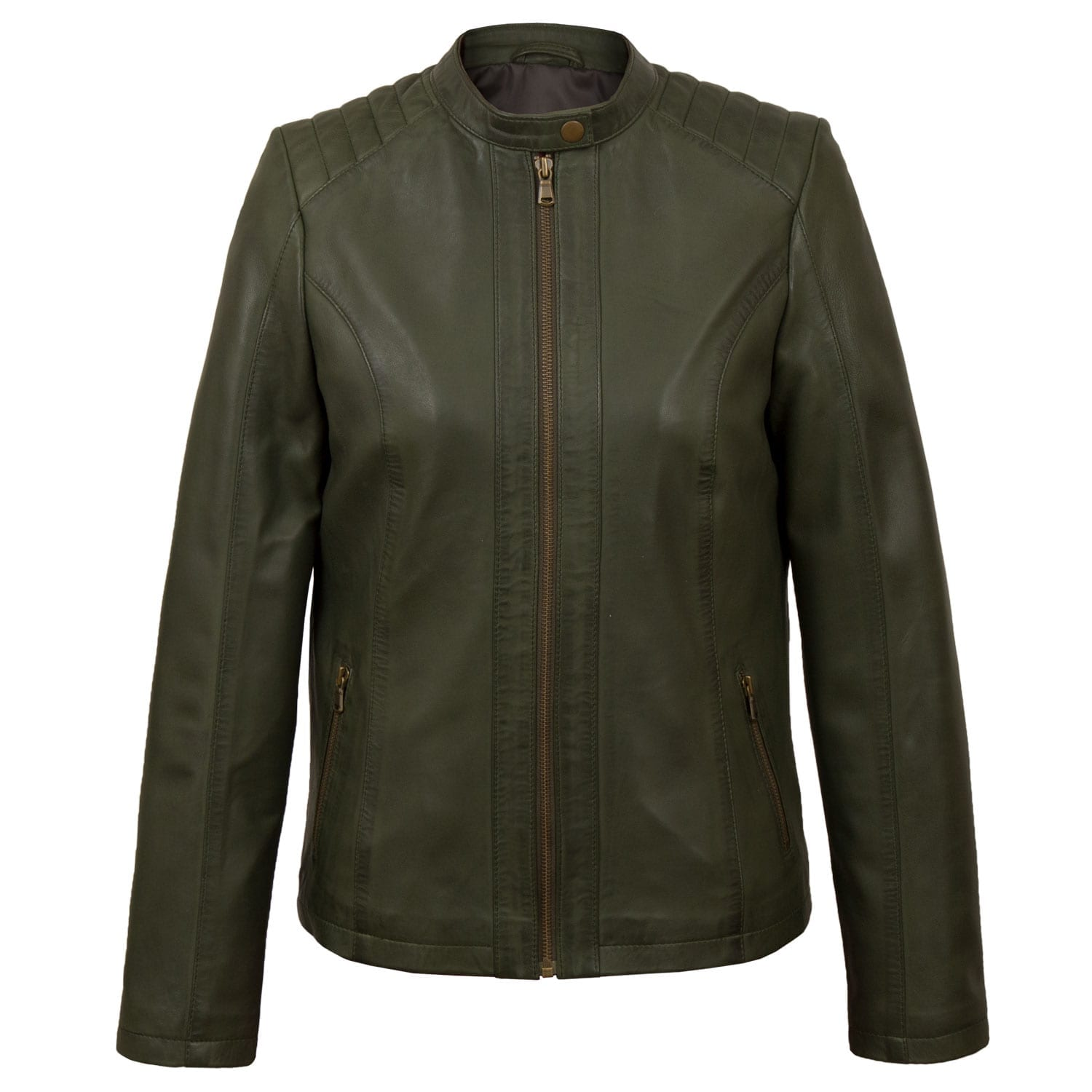 Ladies Green leather jacket Trudy
