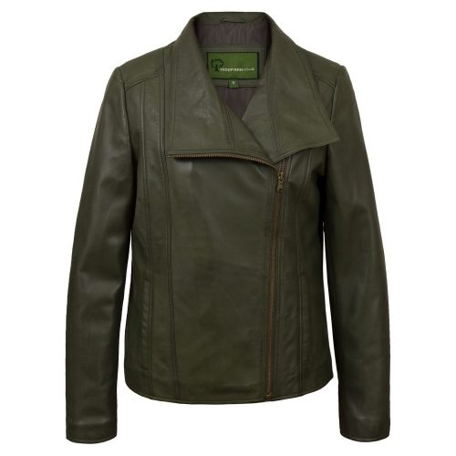 Womens Green Leather Biker Jacket Cayla
