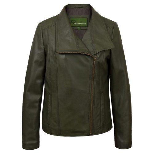 Womens Green Leather Biker Jacket Cayla