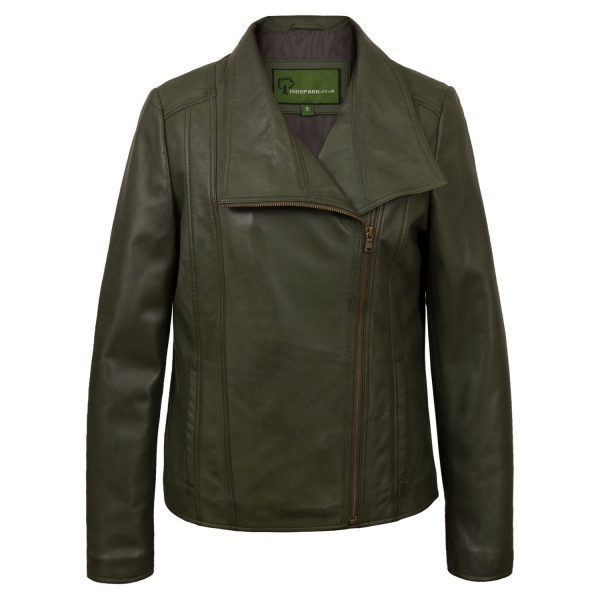 Women's Green Leather Biker Jacket Cayla