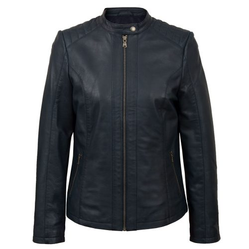 Womens Navy leather jacket Trudy