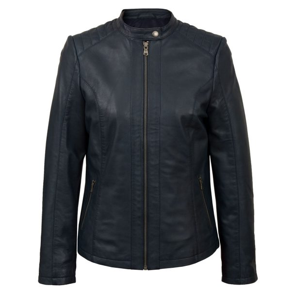 Women's Navy leather jacket Trudy