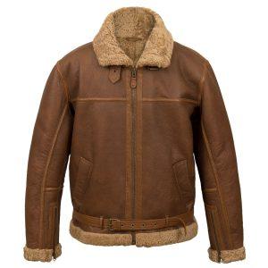 Men's sheepskin flying jacket B4 Cognac