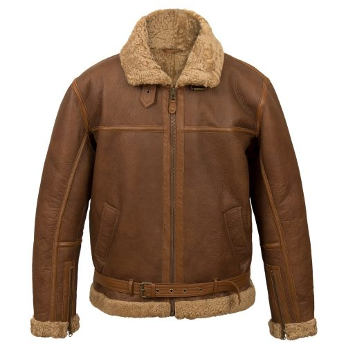 Mens sheepskin flying jacket B Cognac