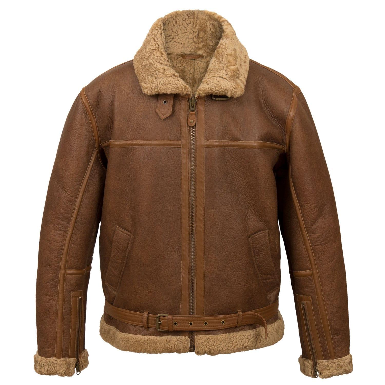 Mens sheepskin flying jacket B Cognac