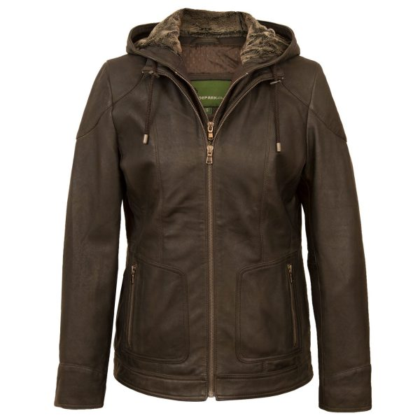 Women's Chocolate leather hooded jacket Heidi