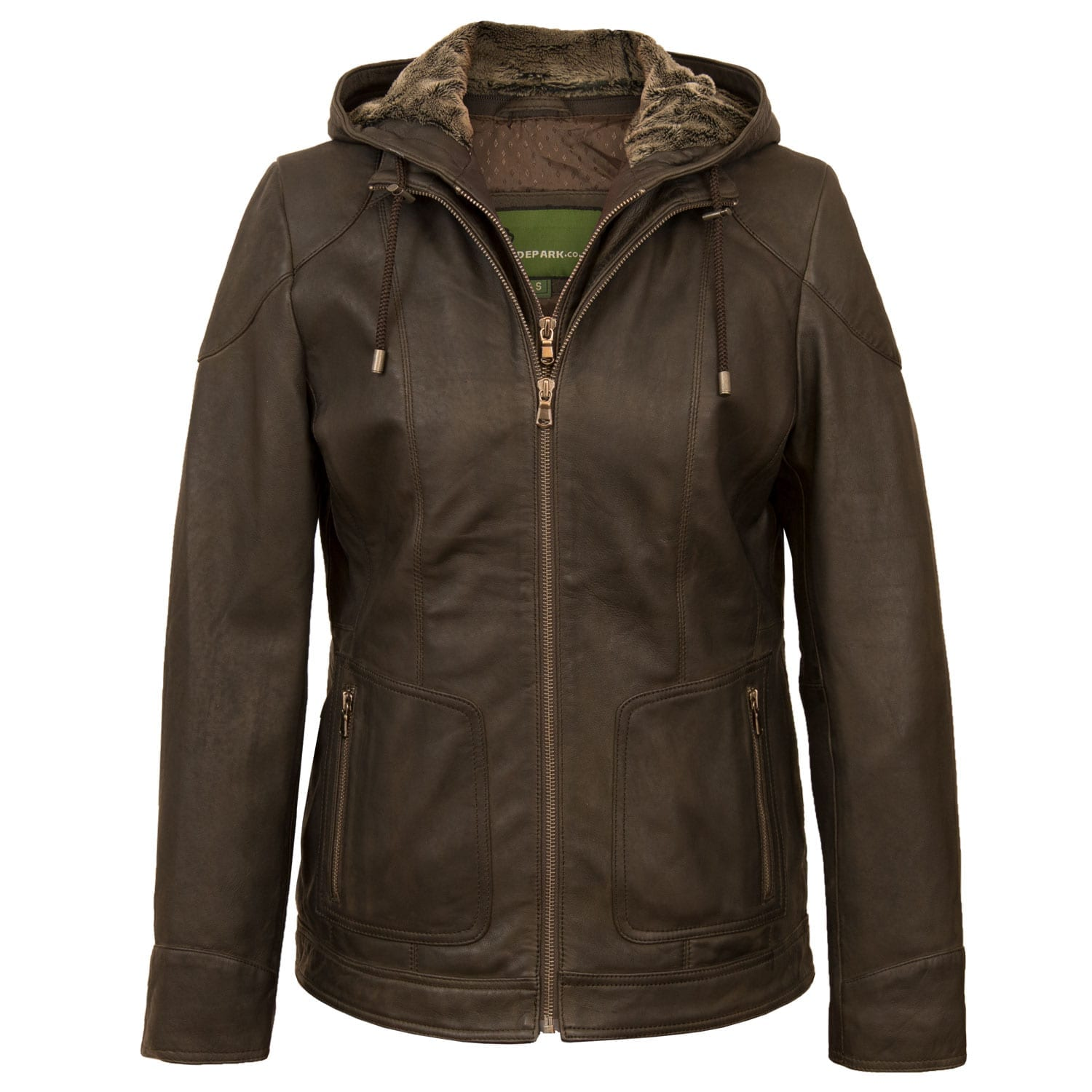Womens Chocolate leather hooded jacket Heidi