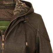Womens chocolate leather jacket heidi hood detail