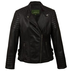Ladies Black Leather Biker Jacket Emma
