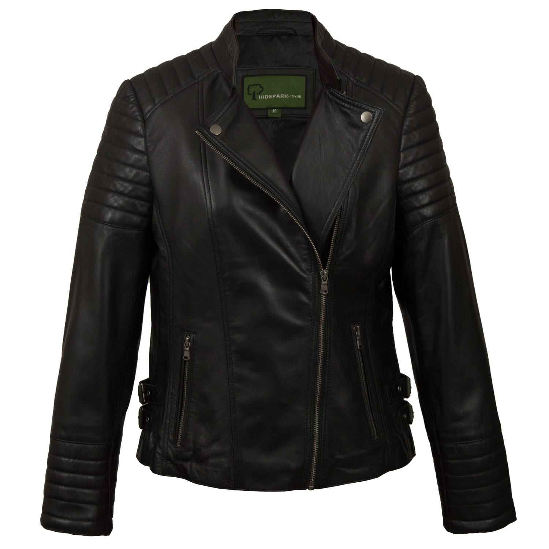 Ladies Black Leather Biker Jacket Emma