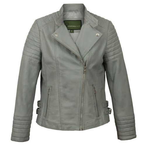 Ladies Blue leather biker jacket Emma