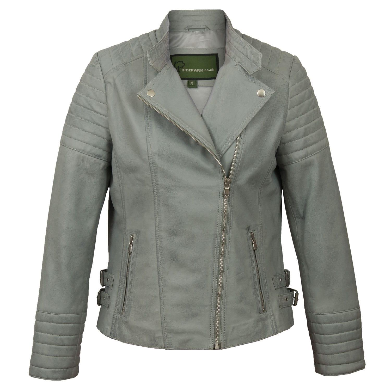 Ladies Blue leather biker jacket Emma