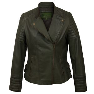 Ladies Green leather biker jacket Emma