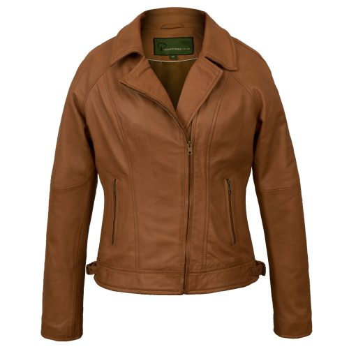Tan Womens leather jacket Viki