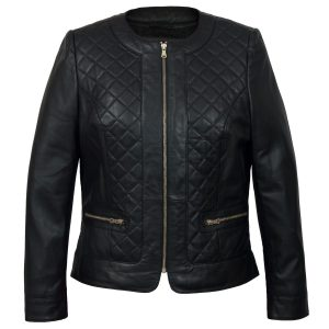 Ladies Black leather jacket Annie