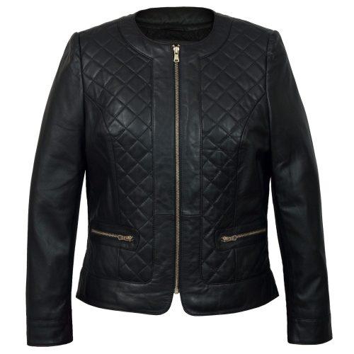 Ladies Black leather jacket Annie