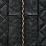 Ladies leather jacket black zip detail black