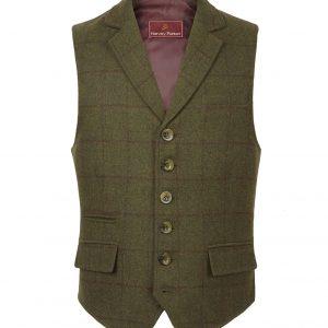 Gents green tweed waistcoat Galloway