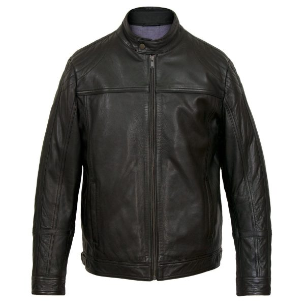 Gents Black Leather Jacket Robson