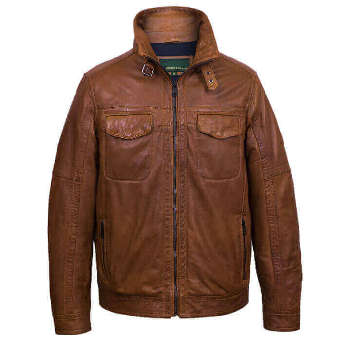 Mens Tan leather jacket jake nav