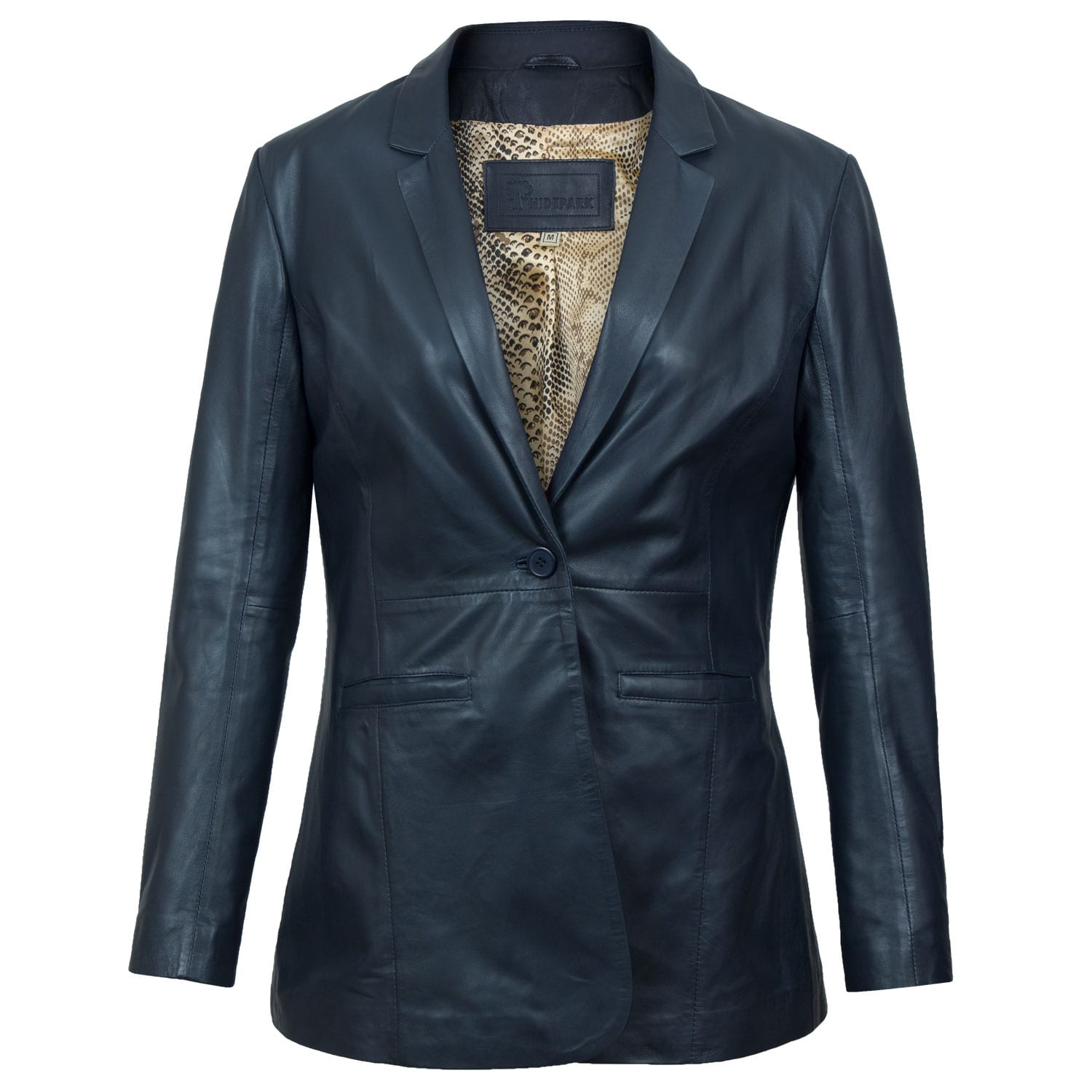 Shop <strong>Womens Navy</strong> Leather Button Jacket