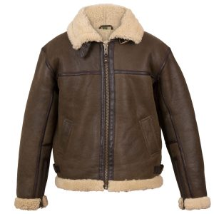 Brown and Cream B5 Leather Bomber Jacket - front view