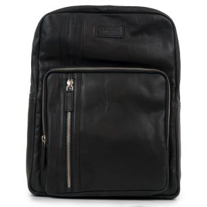 Women's Black Adriana Leather Backpack - front view