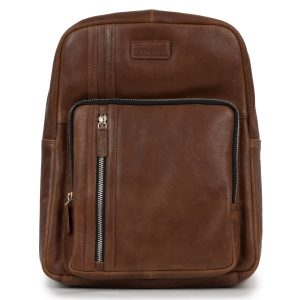 Women's Cognac Adriana Leather Backpack - front view