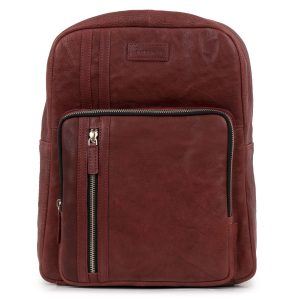 Women's Wine Adriana Leather Backpack - front view