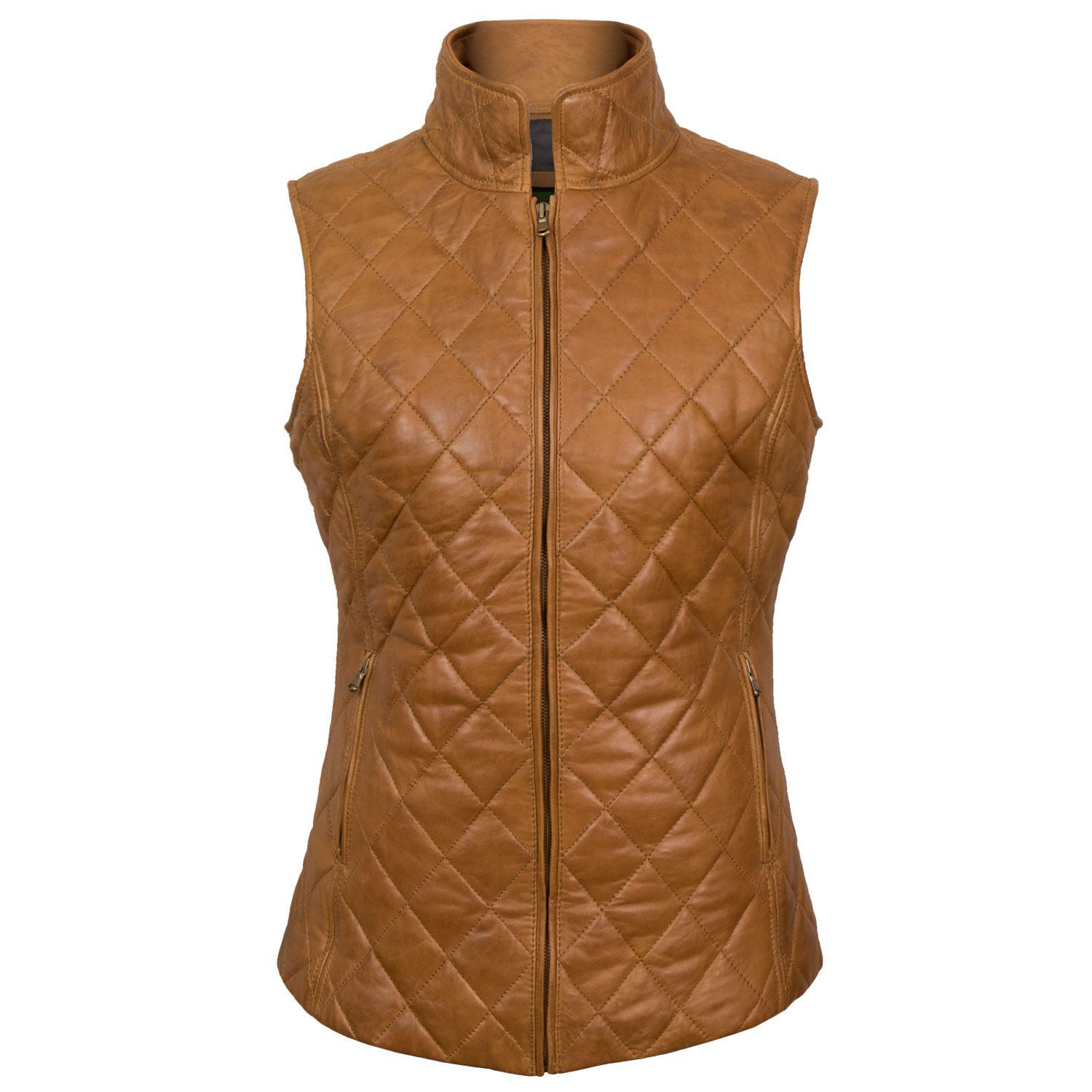 Alexis: Women's Tan Quilted Leather Gilet by Hidepark