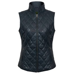 Alexis: Women's Navy Quilted Leather Gilet by Hidepark