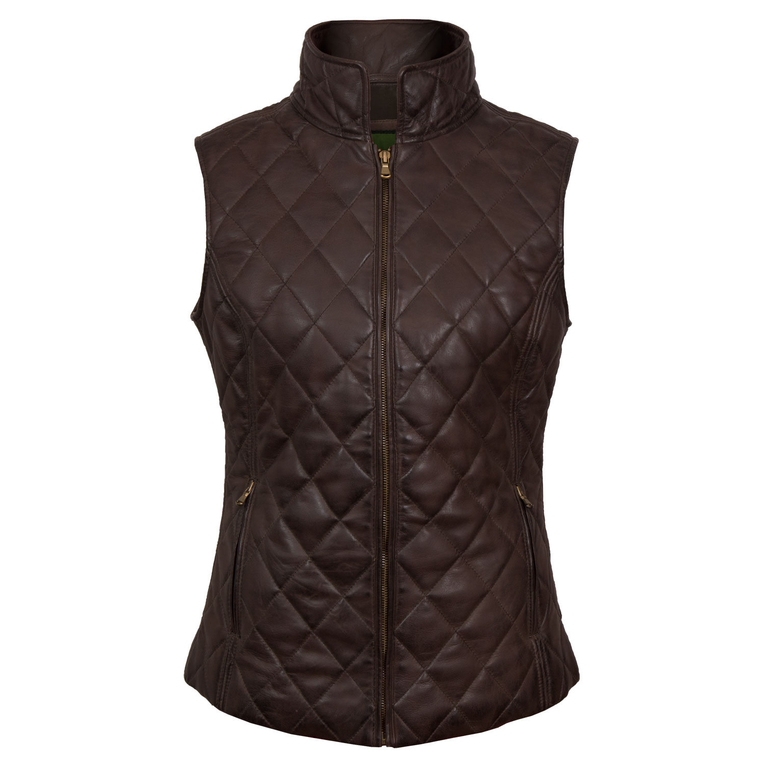 Alexis: Women's Brown Quilted Leather Gilet by Hidepark