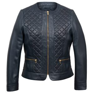 Annie: Women's Blue Quilted Leather Jacket by Hidepark