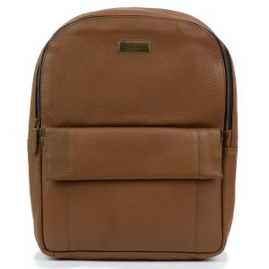 Women's Cognac Leather Backpack Arabella - front view
