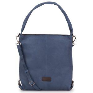 Women's Blue Cassandra Leather Shoulder bag - front view