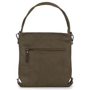 Women's Olive Cassandra Leather Shoulder bag - rear view