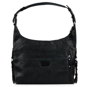 Penelope: Women's Black Leather Handbag by Hidepark