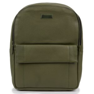 Women's Olive Arabella Leather Backpack - front view