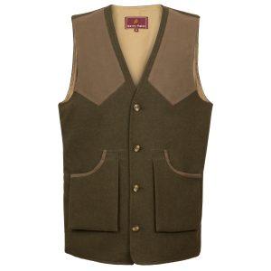 Malvern: Men's Olive Wool shooting Vest by Hidepark